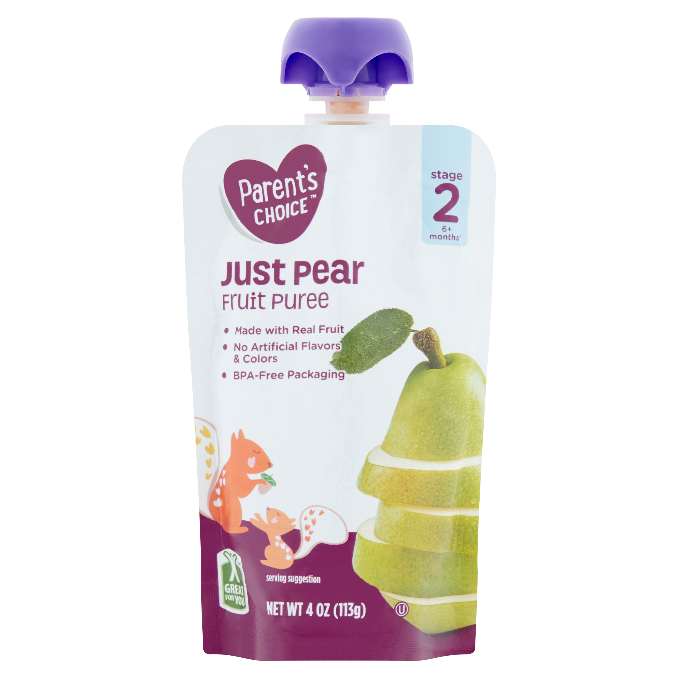Parent's Choice Just Pear, Stage 2, 4 oz Pouch