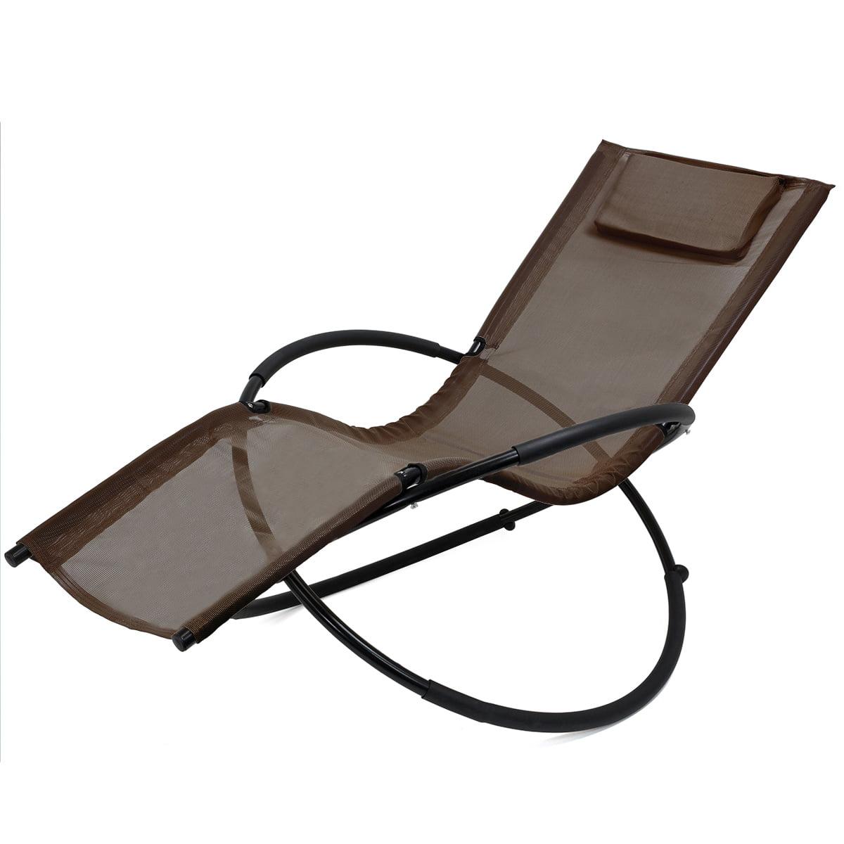 XtremepowerUS Orbital Patio Chair Folding Lounger Rocking Steel Frame, Brown