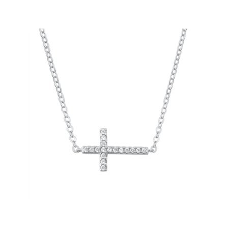 Sterling Silver Sideways Cross Necklace with CZ Stones, Jewelry Gift Box