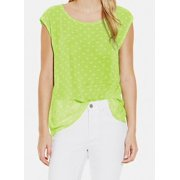 Two By Vince Camuto NEW Green Women's Size Large L Polka-Dot Print Blouse