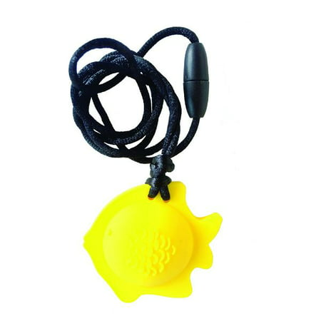 Chubuddy Fish Chewy Pendant With Breakaway Clasp Necklace- Lemon Color