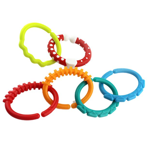 6Pcs Baby Teether Rings, Rainbow Circle Link Baby Toys ...