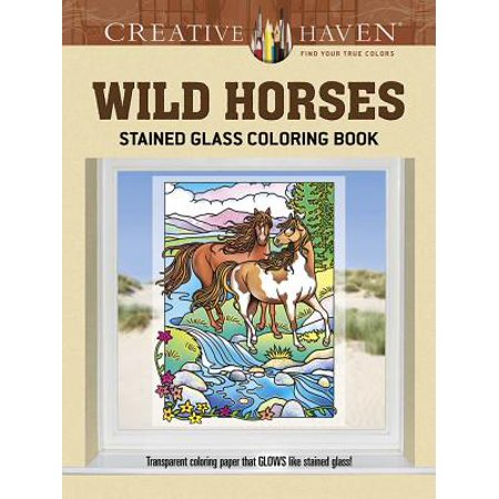 Creative Haven Coloring Books: Creative Haven Wild Horses Stained Glass Coloring Book (Paperback)