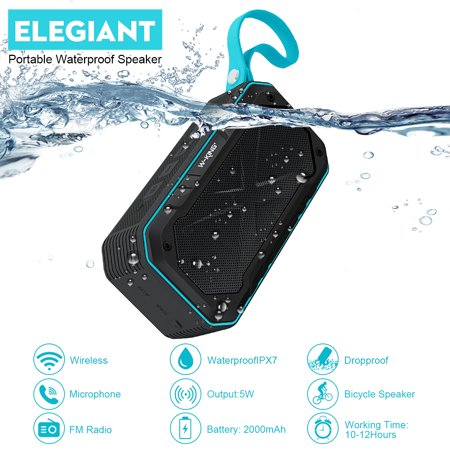 ELEGIANT Mini Portable Speaker Waterproof High Sound Quality Wrestling-proof Built-in Mic Phone Hands-free for Outdoor Sports