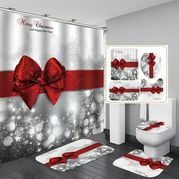 180x180cm Silver Shower Curtain Christmas Red Bow Knot Bathroom And 3 Piece Bath Rug Set Walmart Com Walmart Com