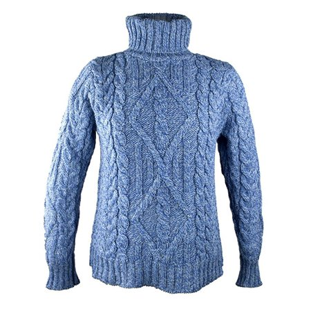Irish Merino Wool Turtle Neck Aran Sweater