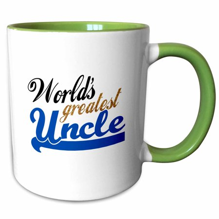 3dRose Worlds Greatest Uncle - blue and gold text - Family relative gifts for relations or honorary uncles - Two Tone Green Mug, 11-ounce