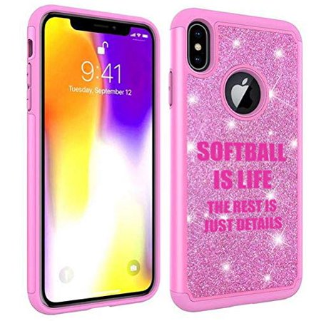 - Glitter Bling Sparkle Shockproof Protective Hard Soft Case Cover for Apple iPhone Softball is Life (Pink, for Apple iPhone 6 / iPhone 6s)