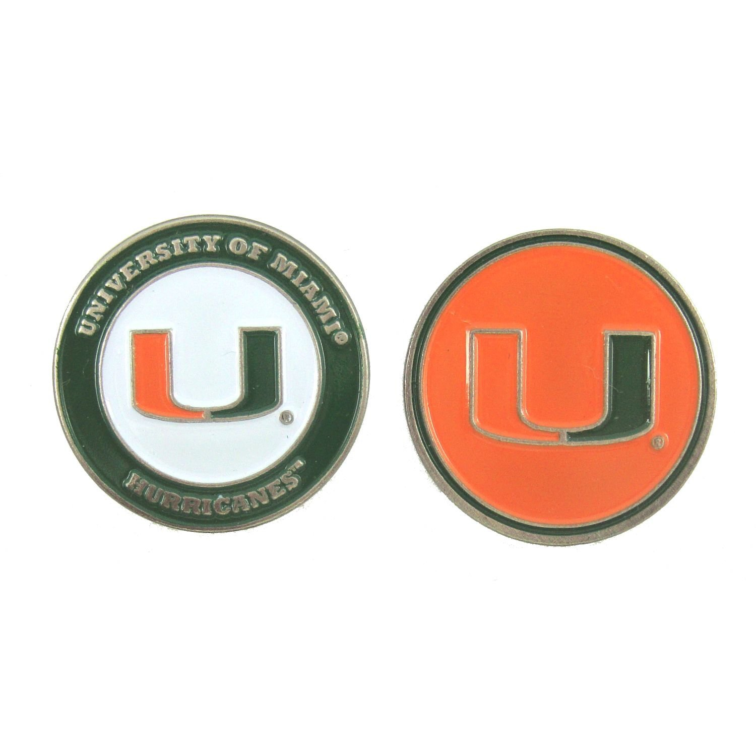 Miami Hurricanes NCAA Double-Sided Golf Ball Marker, 1 Team Logo Double Sided Ball Marker By Waggle Pro Shop,USA