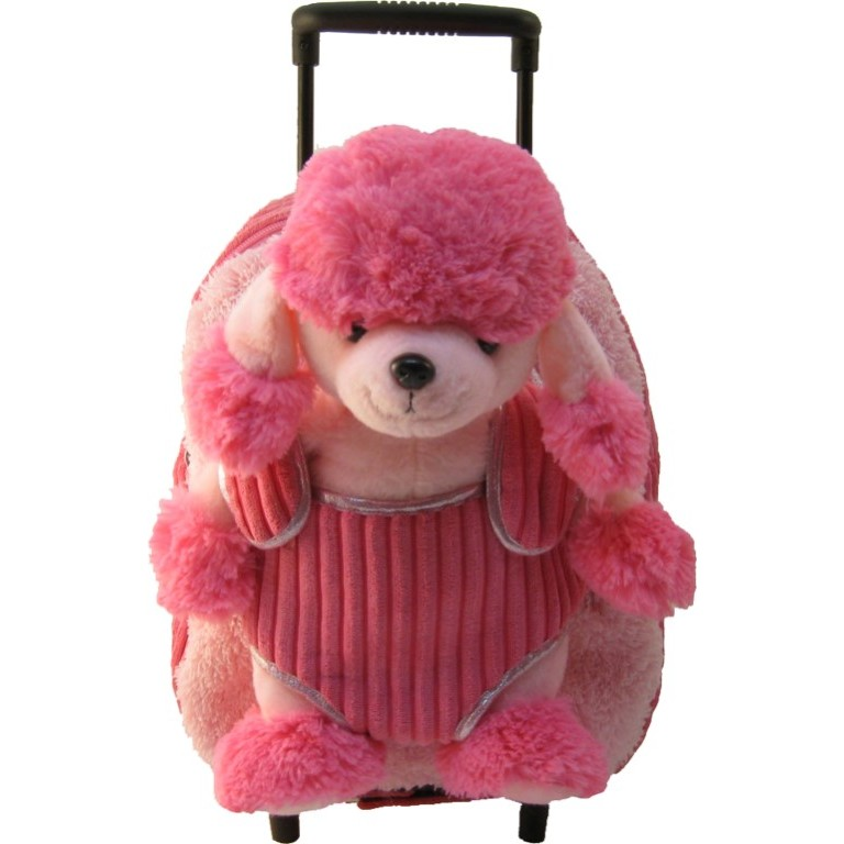 Kids Pink Poodle Puppy Animal Plush Luggage Toddlers Roller Backpack