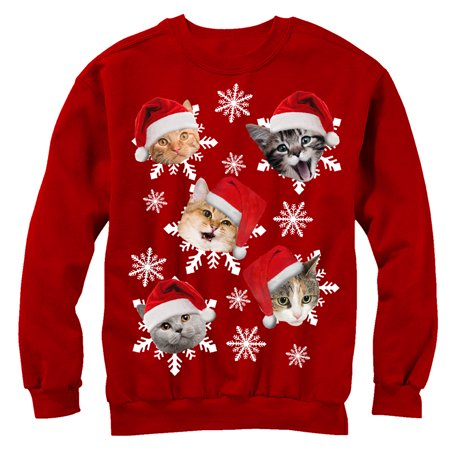 Men's Ugly Christmas Sweater Cat Snowflakes Sweatshirt ()
