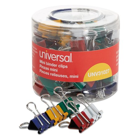 Mini Binder Clips  1 4  Capacity  1 2  Wide  Assorted Colors  60 Pack