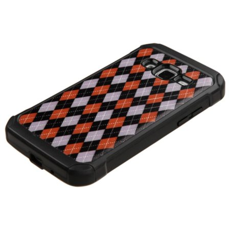 Insten Argyle Hard Dual Layer Rubber Coated Silicone Cover Case For Samsung Galaxy Core Prime - Red/Black - image 3 of 4