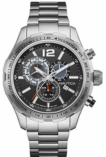 Men's Nautica Chronograph Black Dial Steel Watch NAD18504G by Nautica