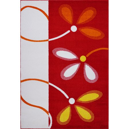Ladole Rugs Turkish Floral Pattern Soft Stylish Machine Made Kids Area Rug Carpet in Red and Cream, 4x6 (3'11