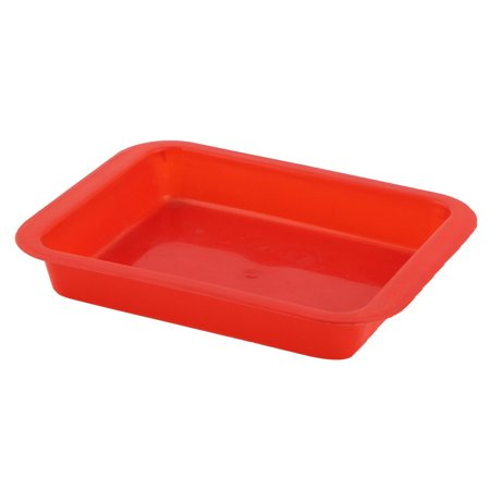 Unique Bargains Restaurant Hotel Red Plastic Rectangle Shaped Food Drinks Serving Tray ()