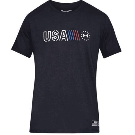 Image of Under Armour 13275580012X Freedom USA Banner Mens 2XL Black S/S T-Shirt