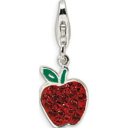 Leslies Fine Jewelry Designer 925 Sterling Silver Enamel Red Crystal Apple w/Lobster Clasp (9x32mm) Pendant (Red Jade Apple Pendant)