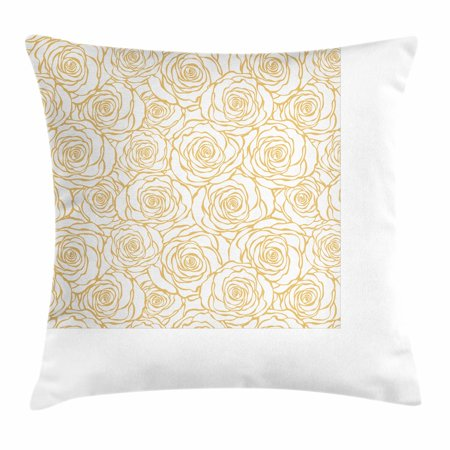 Contemporary Throw Pillow Cushion Cover, Art Deco Style Floral Pattern with Roses Romantic Abstract Bouquet Garden, Decorative Square Accent Pillow Case, 16 X 16 Inches, Peach and White, by Ambesonne