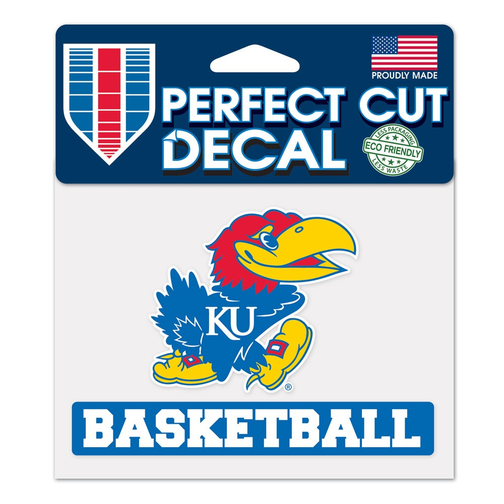 Kansas Jayhawks Official NCAA 4 inch x 5 inch  Die Cut Car Decal by Wincraft