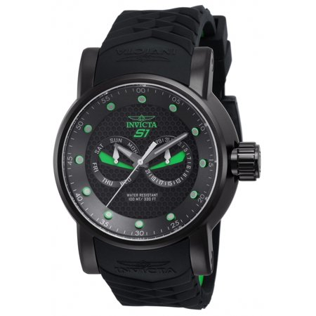 Men's 12788 S1 Rally Black Textured Dial Black and Green Silicone