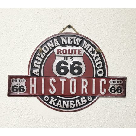 Creative Metal (Creative Motion Metal Sign with Route 66; Product Size: 13.5 x 9x 0.1; MetalWall Art for shop, room,kitchen, décor )