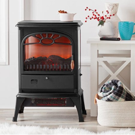 Lifesmart 3-Sided Dual Element Stove Fireplace with Flip Down Door and Remote Classic Stoves Fireplaces