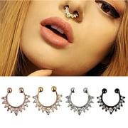 Fake Septum Clicker Unisex Nose Ring Non Piercing Hanger Clip On Jew^m^