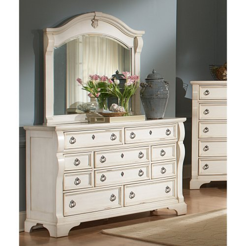 Heirloom 10 Drawer Dresser - Antique White