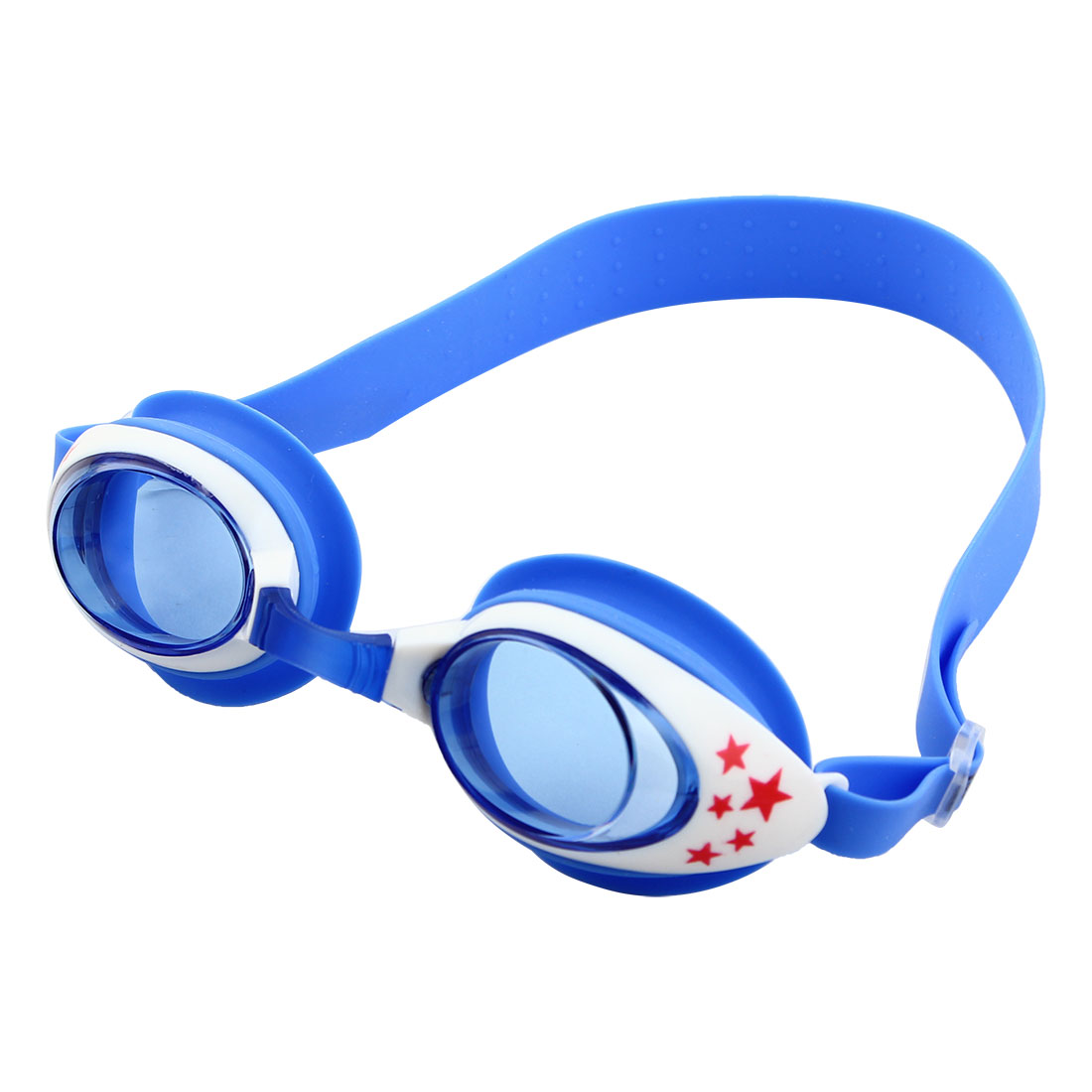Silicone Belt Clear Vision Anti Fog Swim Goggles Glasses Blue White for Child by