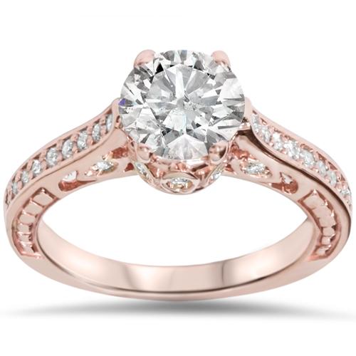 1 1 4ct Vintage Rose Gold Diamond (1ct center) Enhanced Deco Engagement Ring 14K by Pompeii3