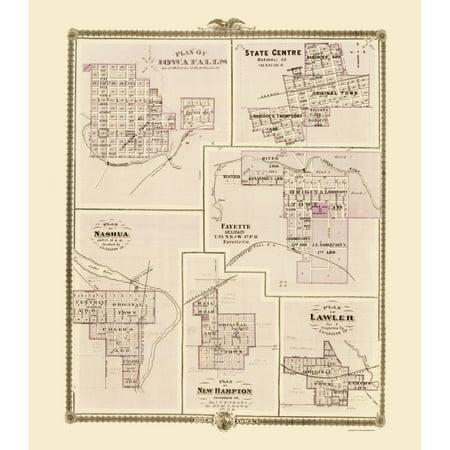 Fayette Iowa Map.Old City Map Iowa Falls Nashua Fayette State Centre Iowa 1874