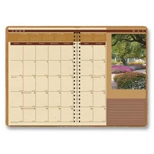"House of Doolittle Landscapes Ruled Monthly Planner, Simulated Suede Covers, 2013, 7"" x 10"", Brown"