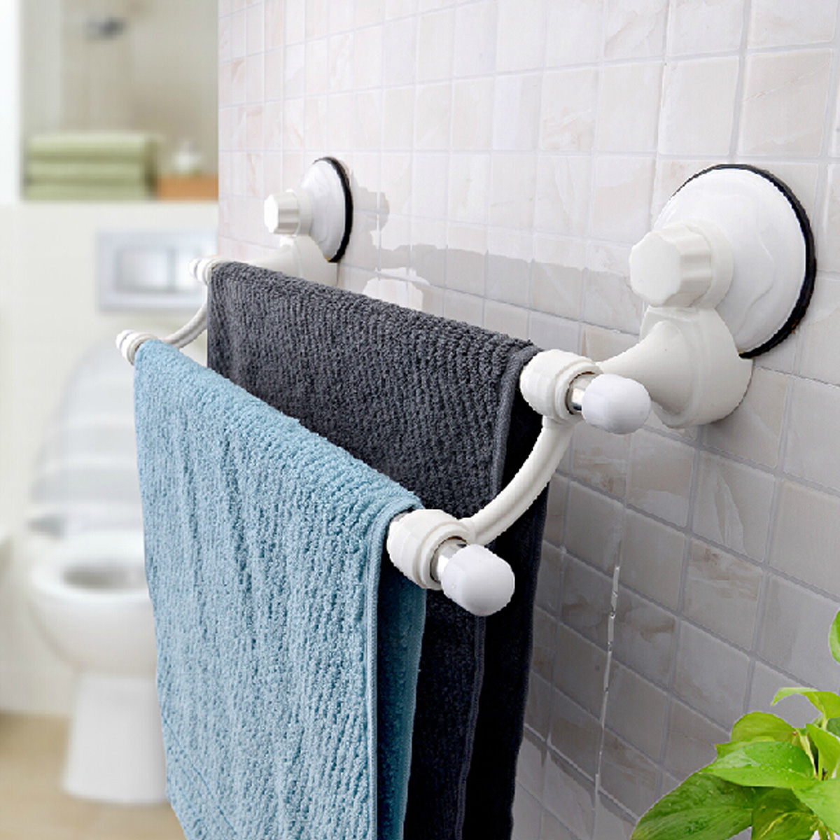 Suction Cup Wall Mounted Bathroom Double Towel Rail Holder Storage ...
