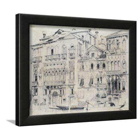 - On the Grand Canal, Venice, Italy. Pencil, c.1826 Framed Print Wall Art By Richard Parkes Bonington