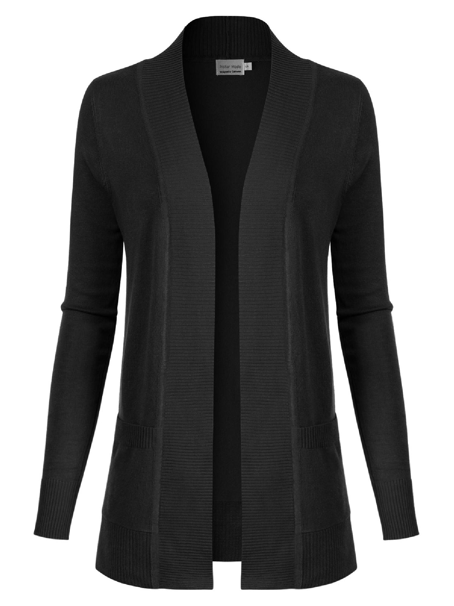 Made by Olivia Women's Open Front Long Sleeve Classic Knit Cardigan Black L