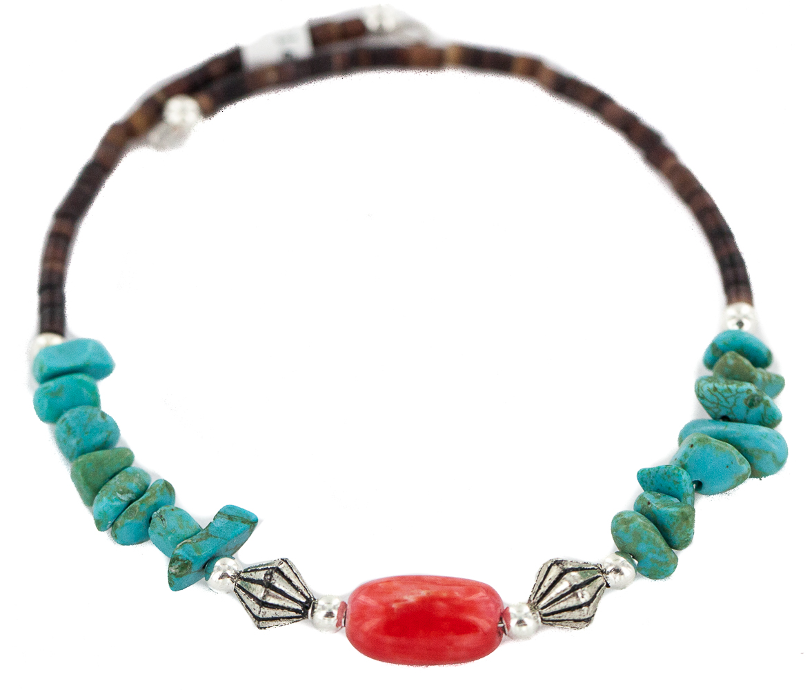 80 Retail Tag Navajo Authentic Made by Charlene Little Coral Heishi Native American Wrap Bracelet by