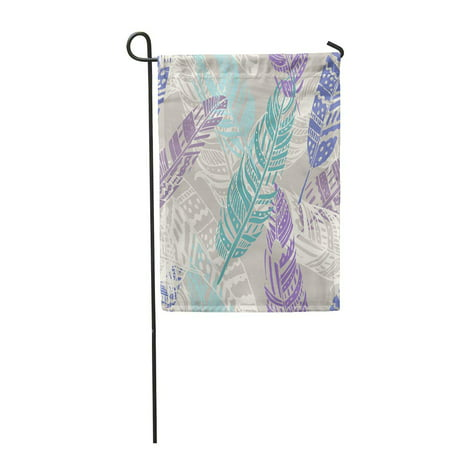 SIDONKU Aztec Gypsy Love Feather Pattern and Boho Hippie Tribal Sketched Ethnic Garden Flag Decorative Flag House Banner 12x18 inch