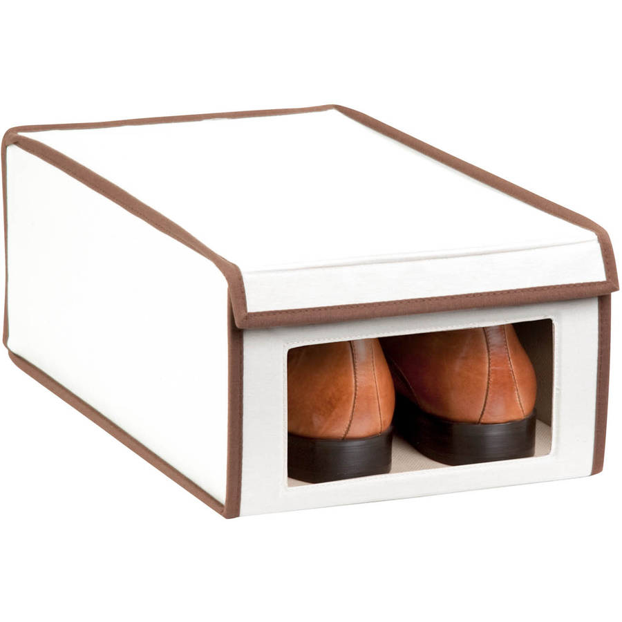 honey can do medium canvas window shoe box beige brown