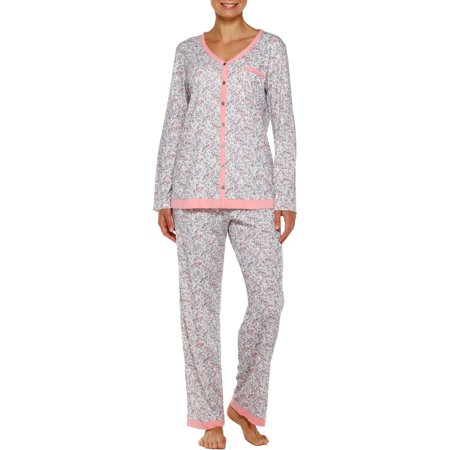 Women's V-Neck Knit Pajama 2 Piece Sleepwear Set with Velvet Ribbon Trim