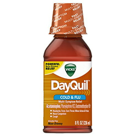 5 Pack - Vicks DayQuil Cold and Flu Relief Original Flavor Liquid, 8oz (Dayquil Liquid)