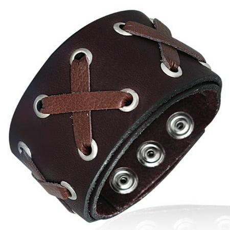 Two-Tone Brown Leather Alloy Snap Wristband Unisex Bracelet