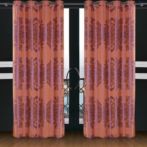 Dolce Mela Dolce Mela Areon Damask Blackout Thermal  Grommet Single Curtain Panel