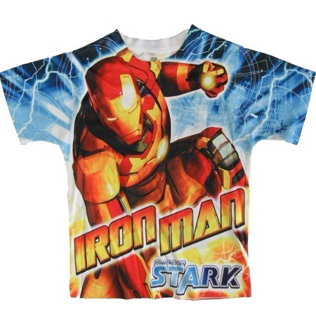Marvel Boys Blue Short Sleeve Iron Man Short Sleeve Shirt 6/7 - Real Iron Man Suits For Sale