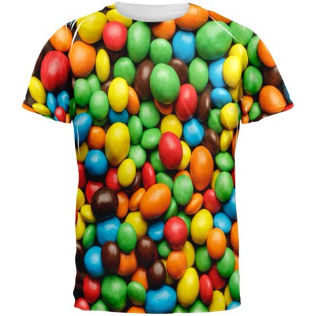 Halloween - Candy Coated Chocolate All Over Adult T-Shirt - Halloween Topeka Ks