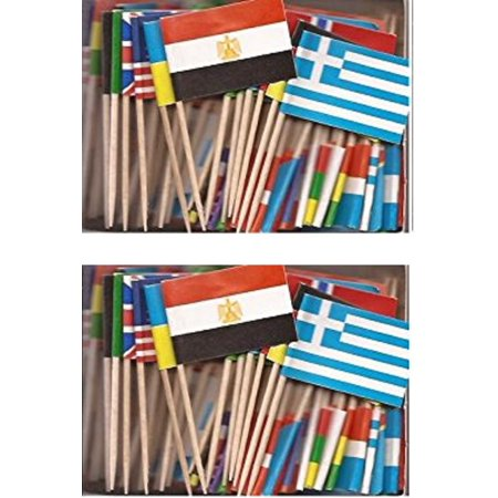 2 Boxes of Assorted World Toothpick Flags, 200 Small Assorted Country Flag Toothpicks or Cocktail Sticks & Picks (World Flag Toothpicks)