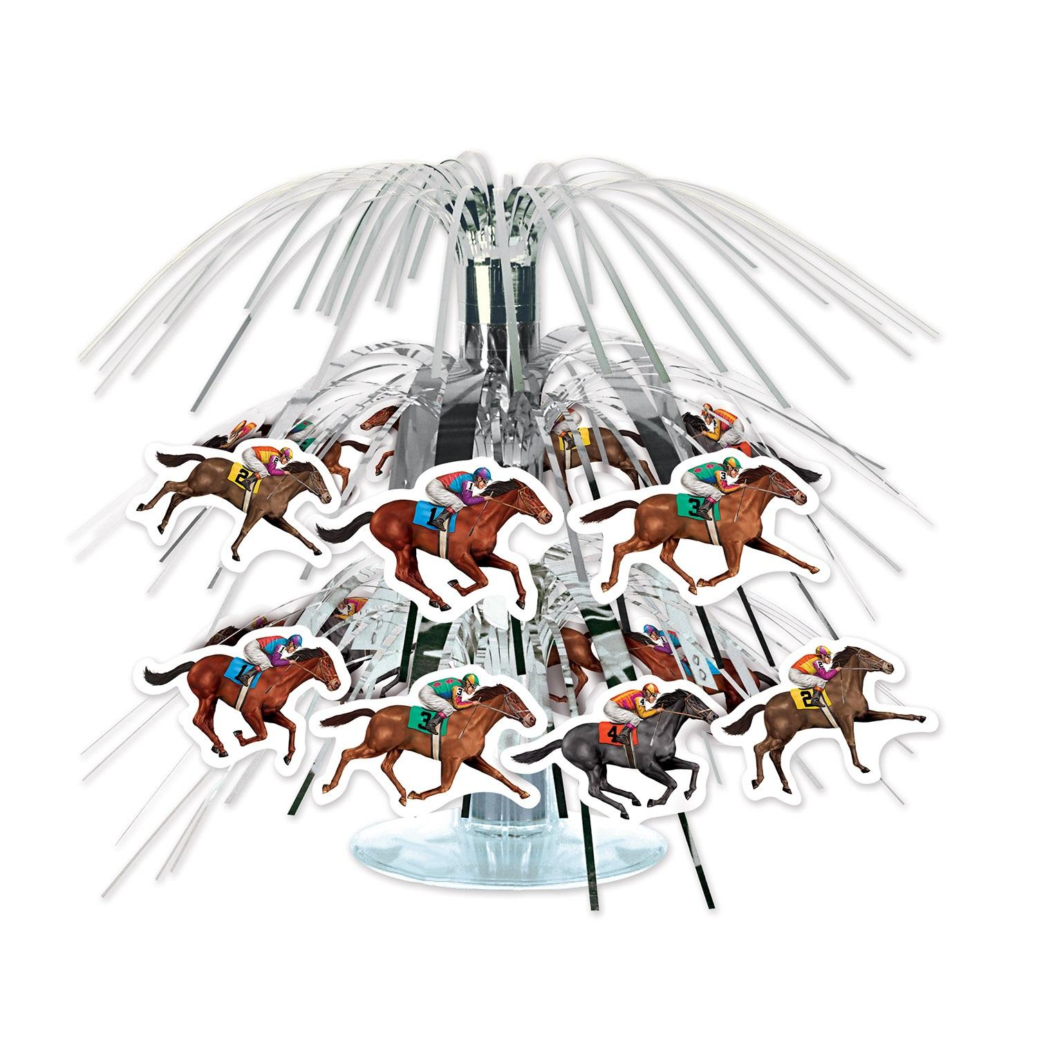 Club Pack of 12 Black and Brown Horse Racing Mini Cascade Centerpiece 8""