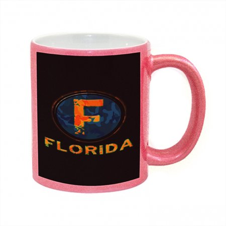 (KuzmarK Pink Sparkle Coffee Cup Mug 11 Ounce - Florida Camouflage)