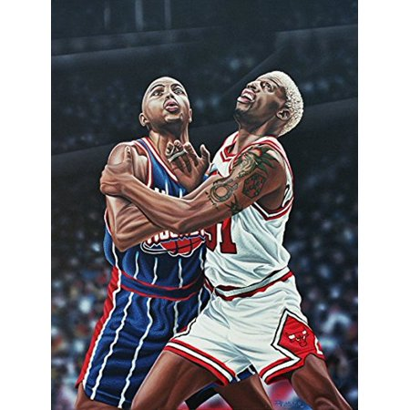 Canvas Dennis Rodman And Charles Barkley Battle For A Rebound By Darryl Vlasak 32X24 Painting Print On Wrapped Canvas Memorabilia Basketball Legends Nba Finals