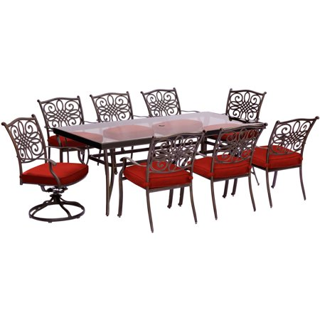 Image of Hanover Traditions 9-Piece Outdoor Dining Set with Glass-Top Table, 2 Swivel Rockers, and 6 Stationary Chairs